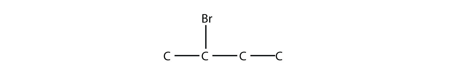 Structural formula of 2-Bromo-butane. The single bonds between Hydrdogen and Carbon are not represented. The position of the radical is indicated in the compound formula.