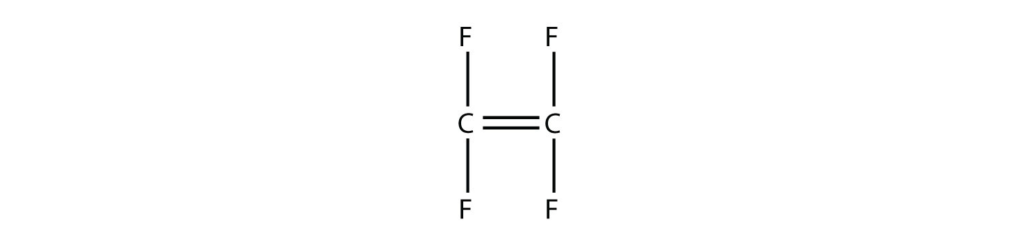 Structural formula of the tetrofluoroethylene molecule.