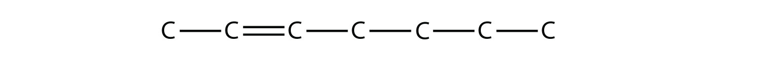 - Structural formula of 2-heptene. The single bonds between Hydrdogen and Carbon are not represented. The position of the double bond is indicated in the compound formula name.