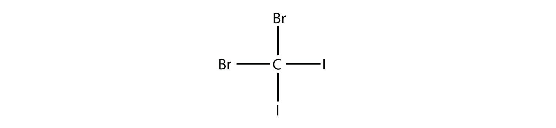 Structural formula of DiBromo-diChloro-methane.