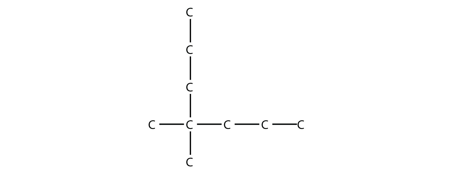 Structural formula of 2-methyl-2-propyl-pentane.