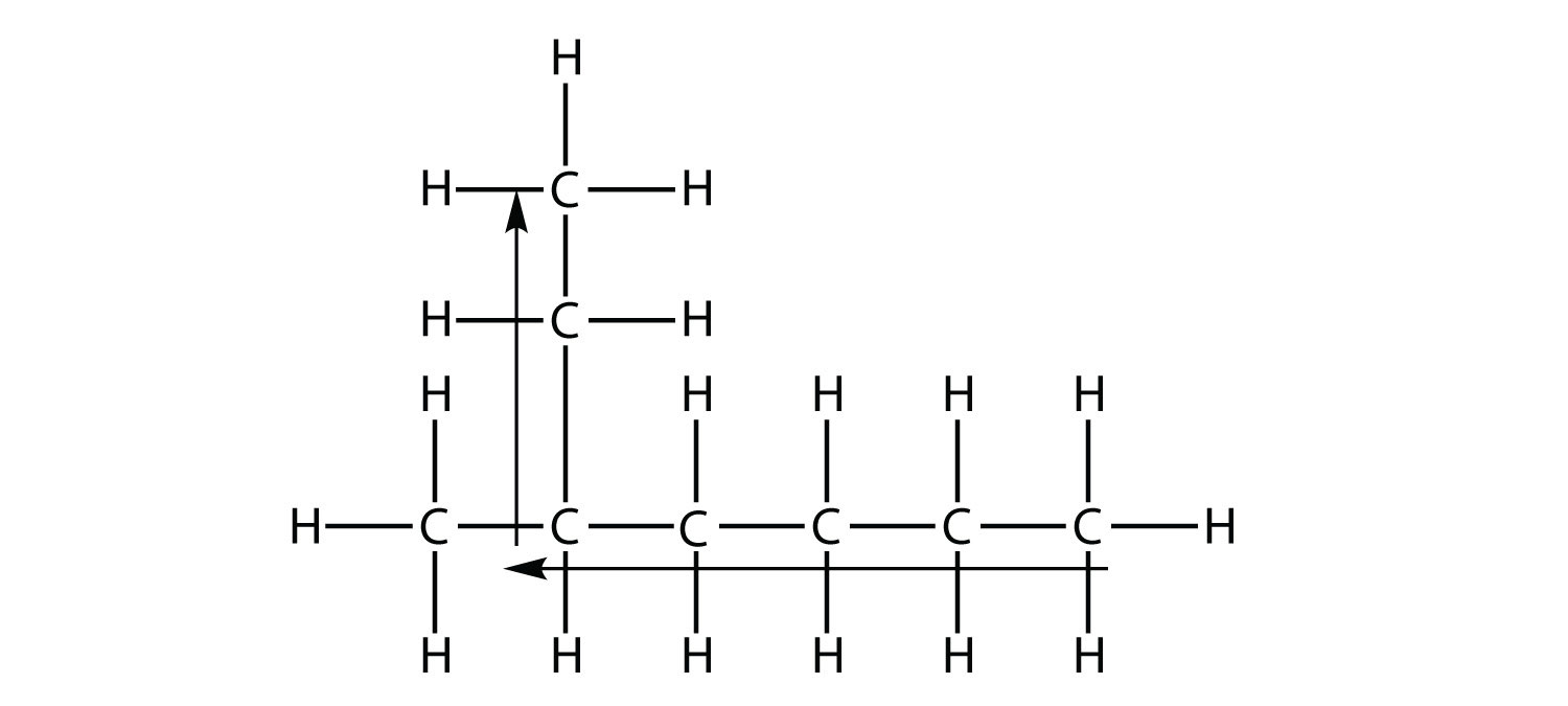 - The arrows identify the longest chain in the represented alkene. Then, the branches represent the substituents on the main chain.