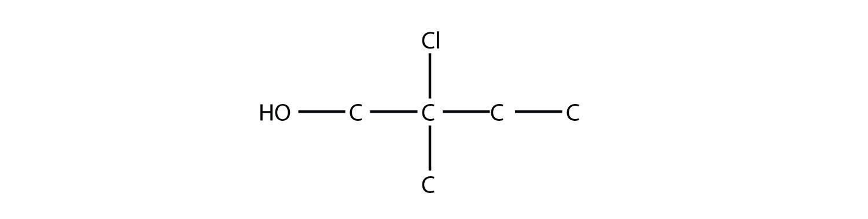 Structural forumula of 2-Chloro-2-mehtyl-1-butanol.