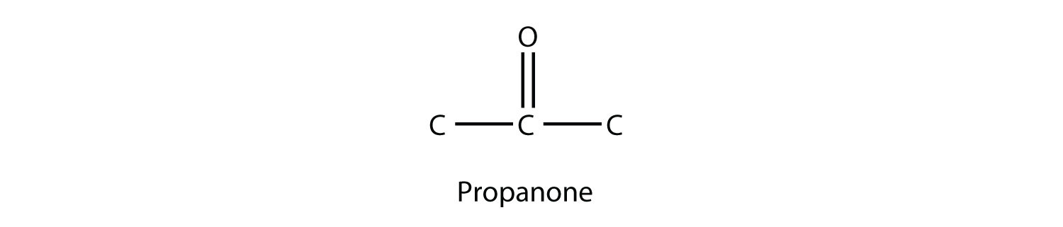 - Propanone, the simple member of Ketone family showing the carbonyl group  (double bond between Carbon and Oxygen) in a secondary Carbon (a carbon joined to two other Carbon atoms).
