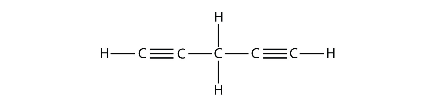 - Structural formula of 1,4 dipentyne. The triple bonds between two atoms of Carbons are represented by three lines. The position of triple bonds is indicated in the compound formula