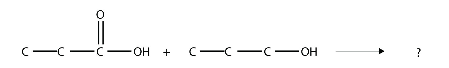 The reaction of propanoic acid with 1-propanol produces the ester proply propanoate