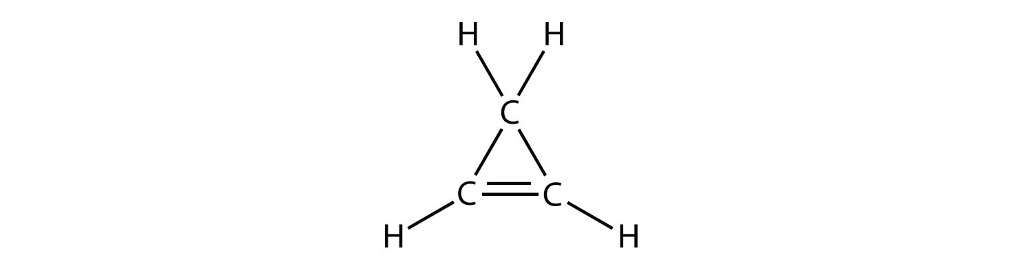 -	Structural formula of cyclo-propene. The double bond between two atoms of Carbons in represented by two lines.
