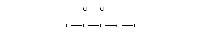 - Structural formula of 2,3-diChloro-pentane.