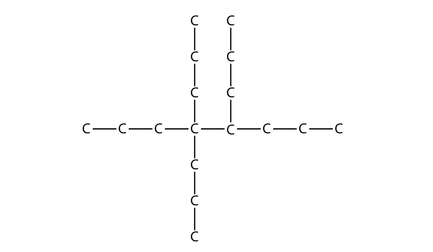 - Structural formula of 4,4,5-tripropyl-octane.  The single bonds between Hydrdogen and Carbon are not represented. The position of the radicals is indicated in the compound formula name.