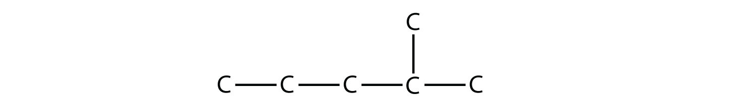 Structural formula of 2-methyl-pentane. The single bonds between Hydrdogen and Carbon are not represented.