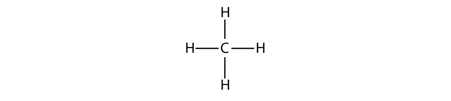 Structural formula of showing covalent bonds (short lines) between Hydrogen and Carbon atoms and between atoms of Carbon atoms -methane