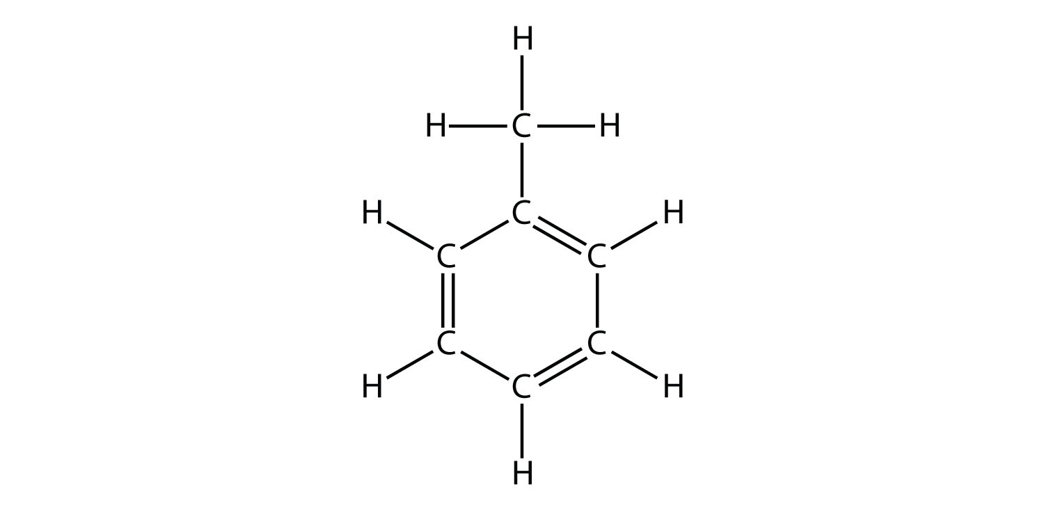 Expanded structure of Methyl-Benzene (Toluene) showing six Carbon atoms in a ring, with alternating single and double Carbon bonds. This is an example of aromatic molecule.