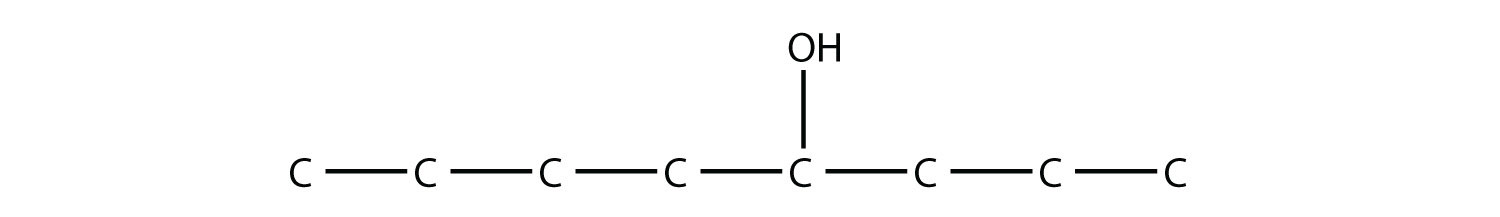 - Structural formula of 4-octanol. The position of the funcional group hydroxil is indicated in the compound formula. In all cases, the single bonds between Hydrdogen and Carbon are not represented. The position of the radical is indicated in the compound formula.