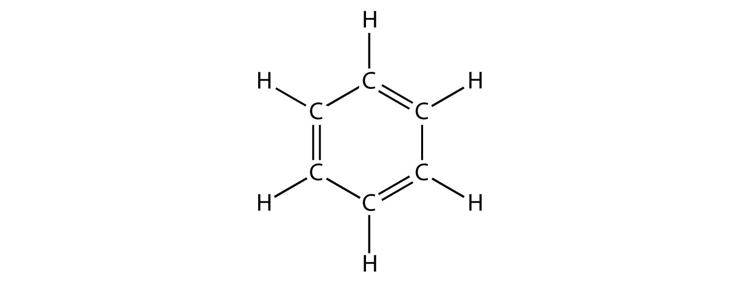 -	Expanded structure of Benzene showing six Carbon atoms in a ring, with alternating single and double Carbon bonds.