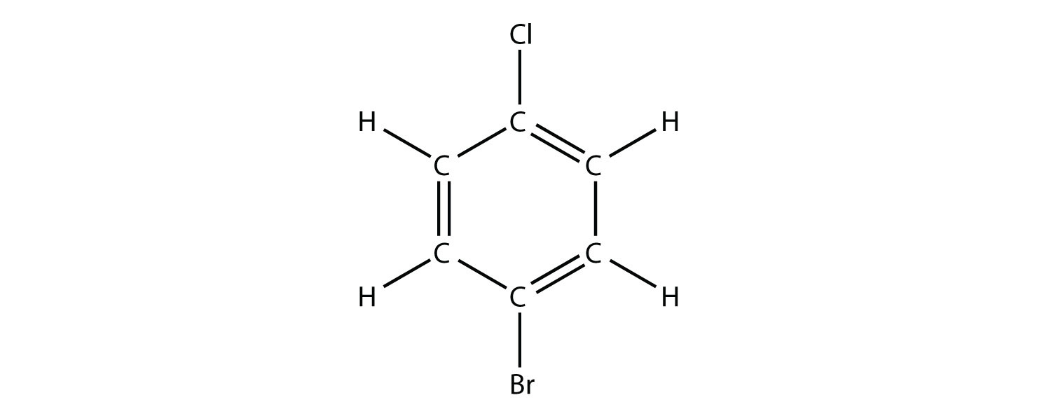 Structural formula of 3-Bromo-6-Chloro-benzene (aromatic compound). ,