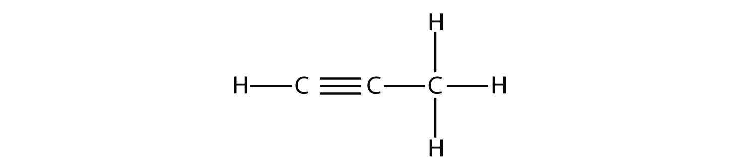 The single covalent bonds (short lines) between Hydrogen and Carbon atoms, and between atoms of Carbon atoms. The double and triple bonds between two atoms of Carbon in alkene and alkyne formulas are indicated by two and three lines respectively. The position of the double bond is indicated in the alkene name.