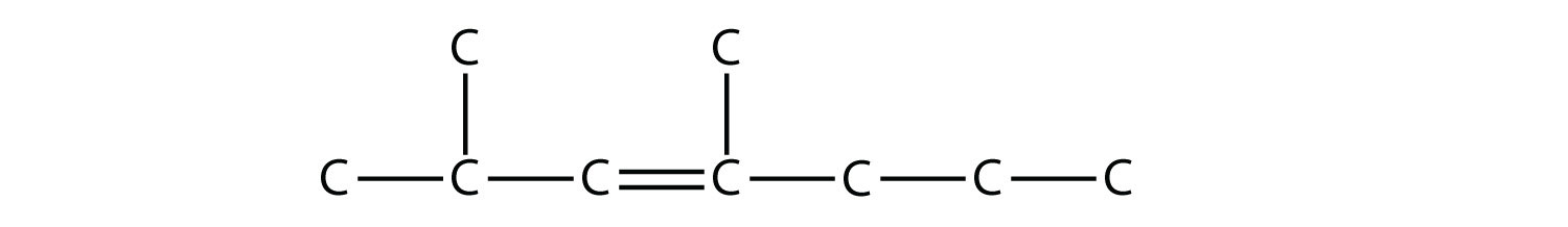 - Structural formula of 2,4-dimethyl-3-heptene. The single bonds between Hydrdogen and Carbon are not represented. The position of the radicals and double bond are indicated in the compound formula name.