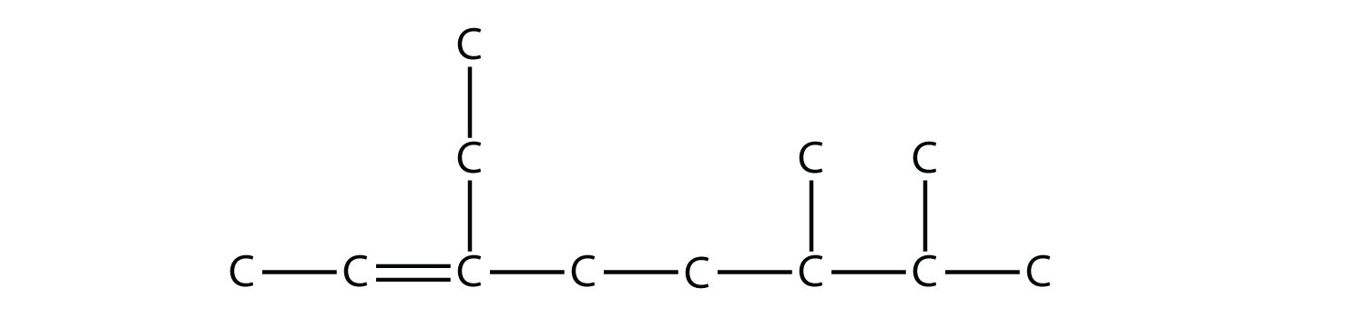 Structural formula of 2,3,4-trimethyl-pentane.   The single bonds between Hydrdogen and Carbon are not represented in all cases. The position of the radicals and non-single bonds are indicated in the compound formula names.