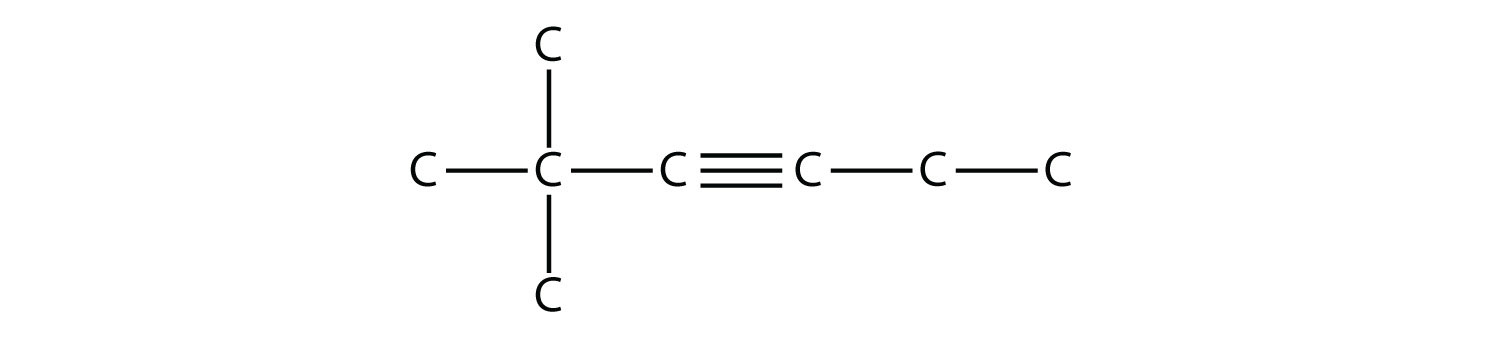 - Structural formula of 2,2-dimethyl-3-hexyne. The single bonds between Hydrdogen and Carbon are not represented. The position of the radicals and triple bond are indicated in the compound formula name.
