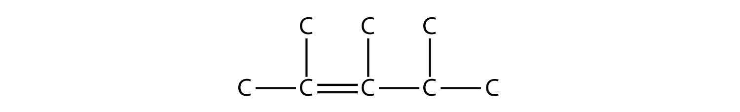 - Structural formula of 2,3,4-trimethyl-2-pentene. The single bonds between Hydrdogen and Carbon are not represented. The position of the radicals and double bond are indicated in the compound formula name.