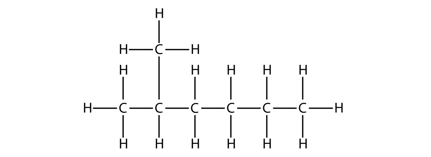 Structural formula of 2-methyl-hexane.
