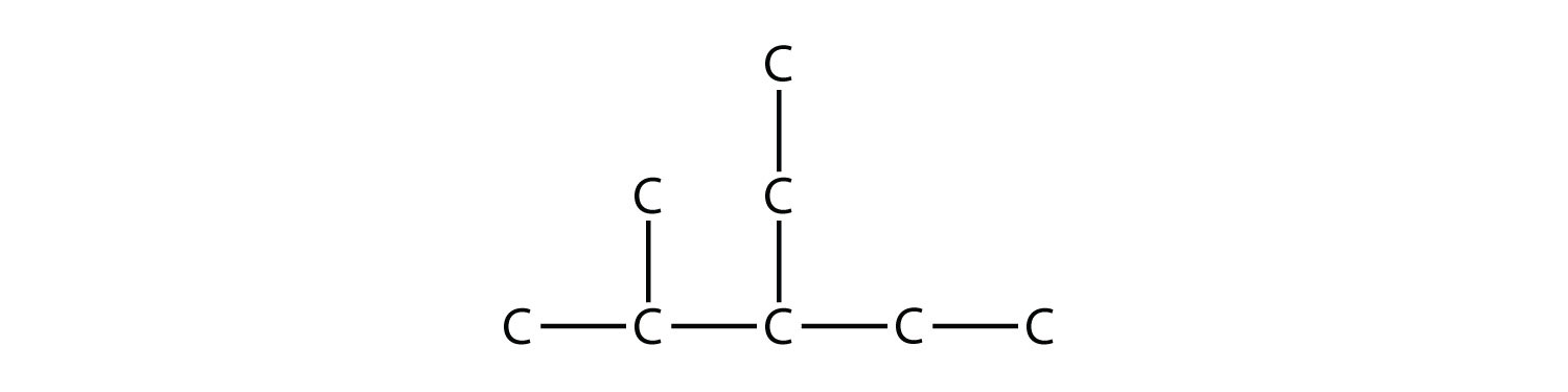 Structural formula of 2-methyl-3-ethyl-pentane. The single bonds between Hydrdogen and Carbon are not represented.