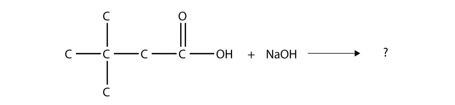 - The reaction between organic 3,3-dimethyl butanoic acid and Sodium hydroxide produces the corresponding Sodium 3,3-dimetyl-butanoate and water.