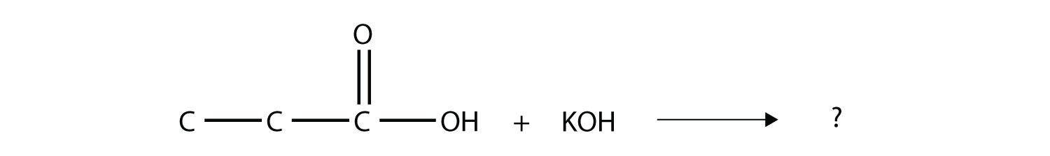 - The reaction between organic acid propanoic acid and Potassium hydroxide produces the corresponding Potassium propanoate and water.