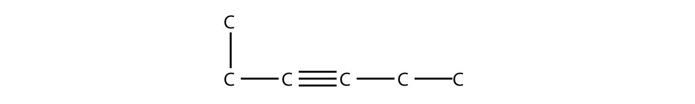 Structural formula of 3-hexyne.