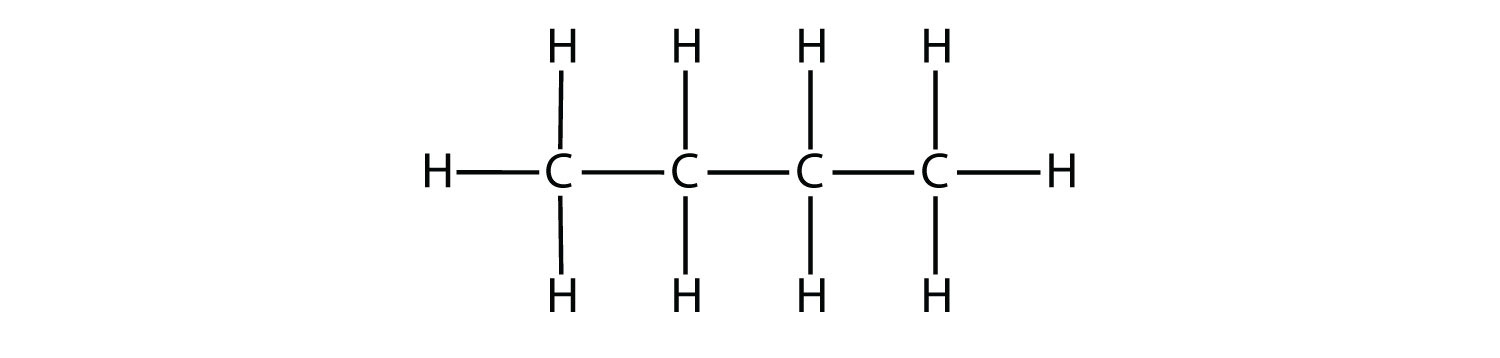 -	Structural formula of Butane showing single covalent bonds (short lines) between Hydrogen and Carbon atoms, and between atoms of Carbon atoms