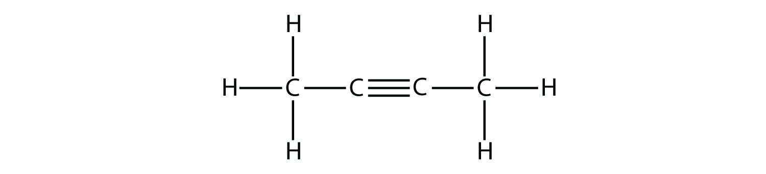 Structural formula of  alkyne 2-butyne This is an example of aliphatic molecule.