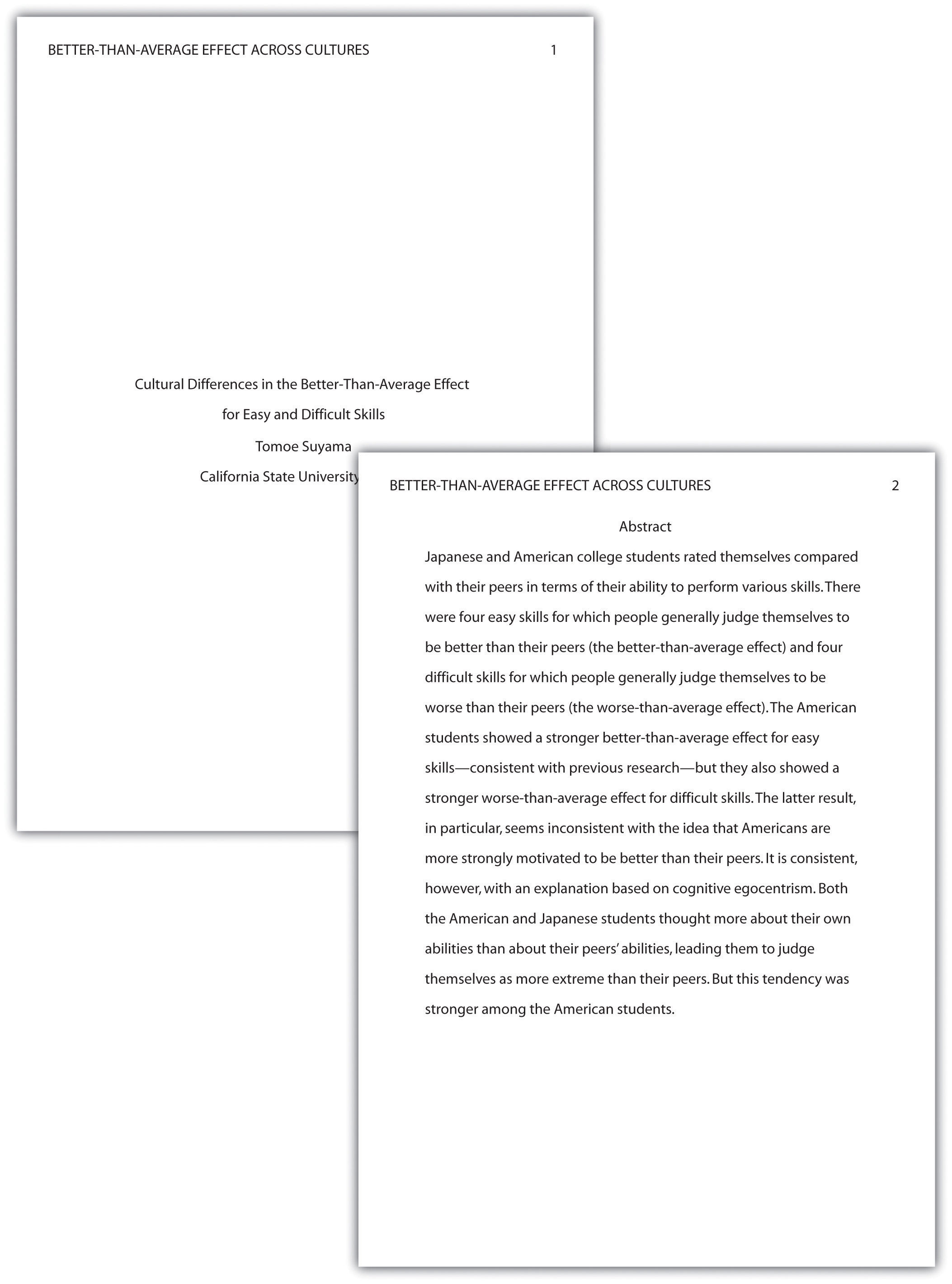 Examples of essays in apa format