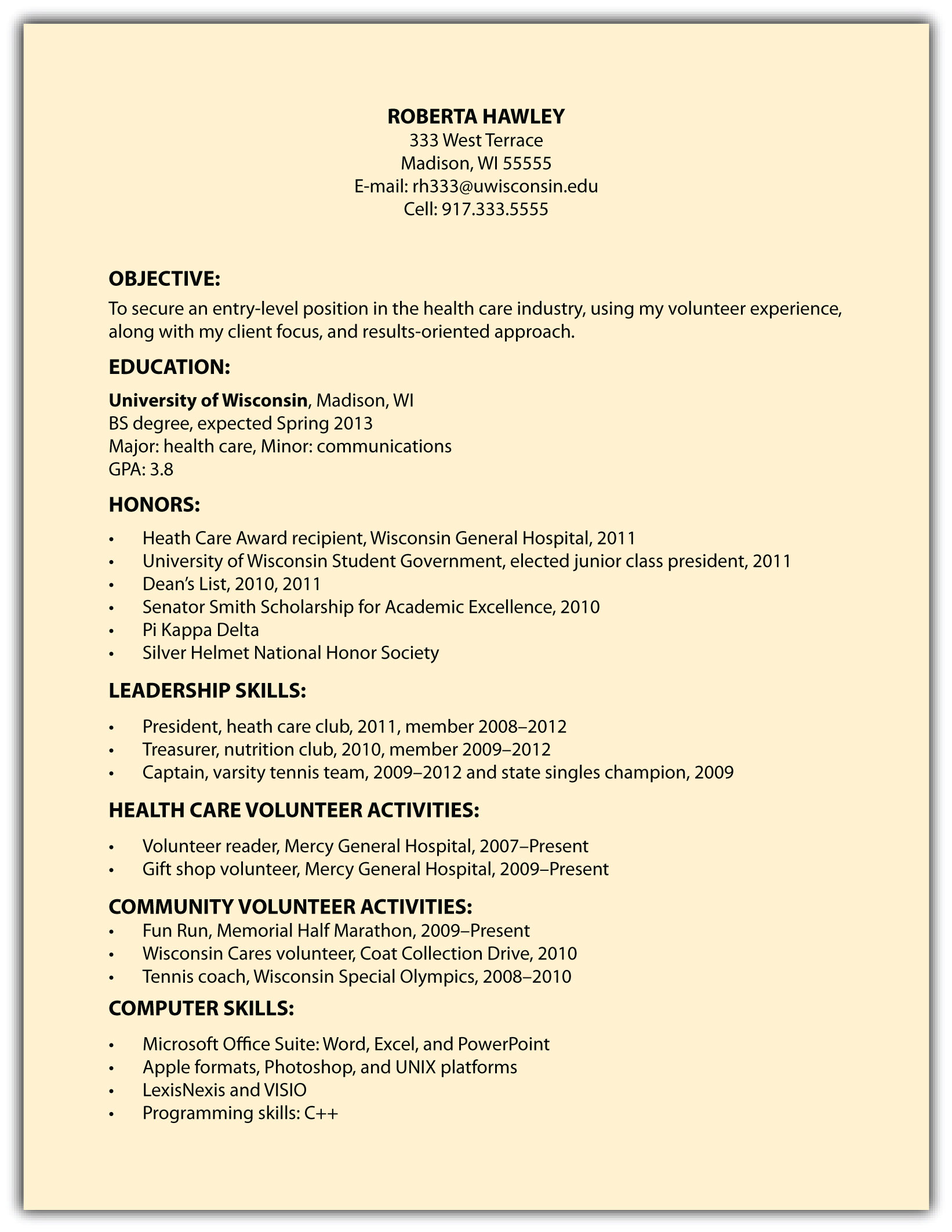 Functional Résumés  Sample Of Functional Resume