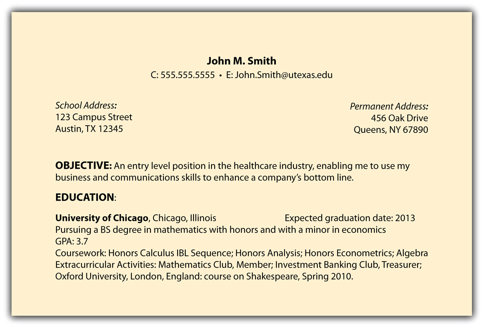 resume coursework section