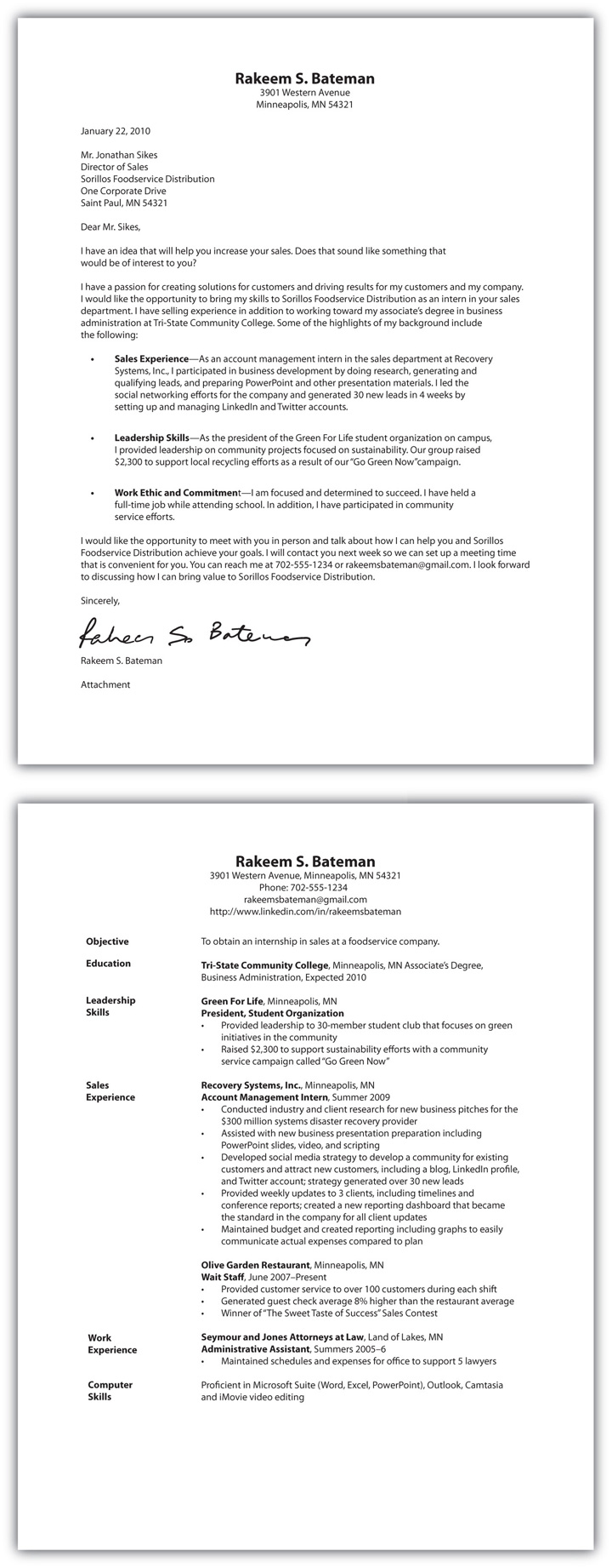 Cover Letter And Resume One File Online Writing Lab