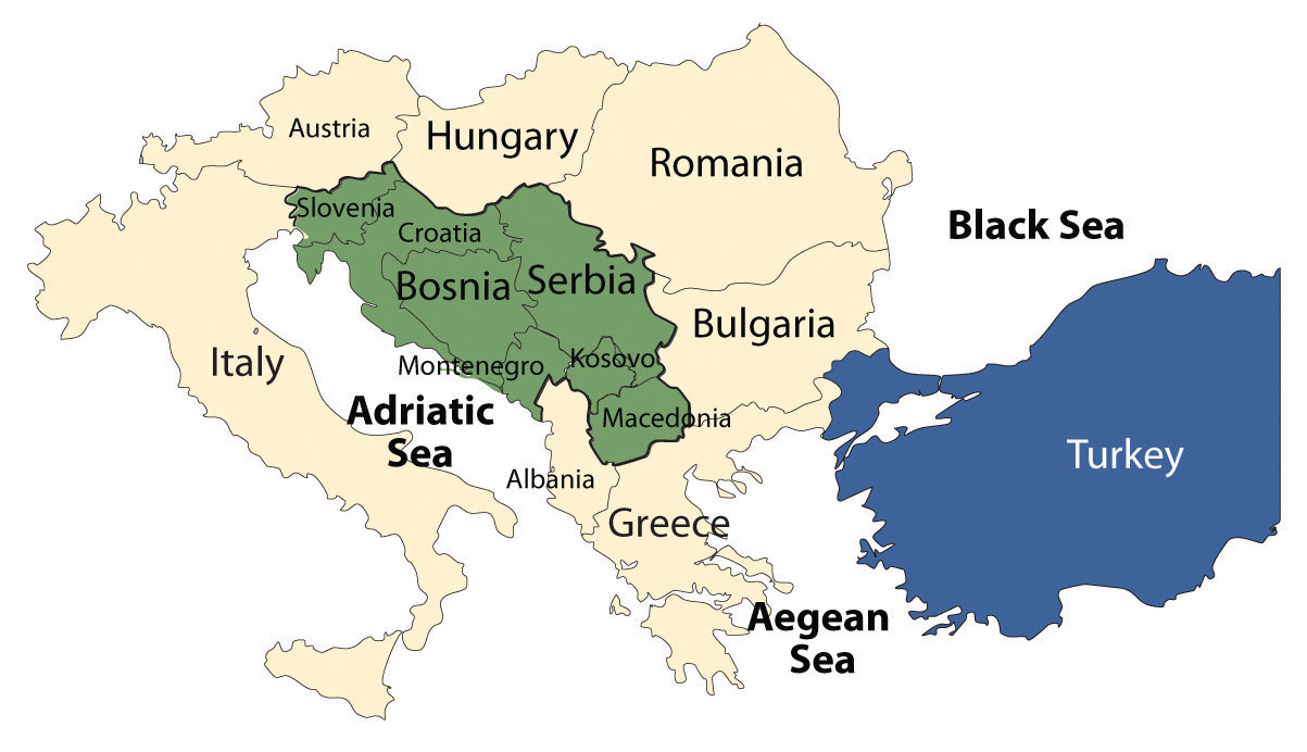 The countries of Eastern Europe are the main features