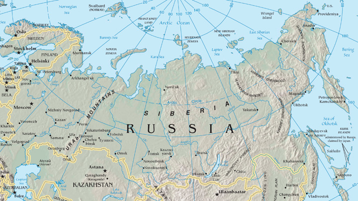 Regions Of Russia - Physical map of russia