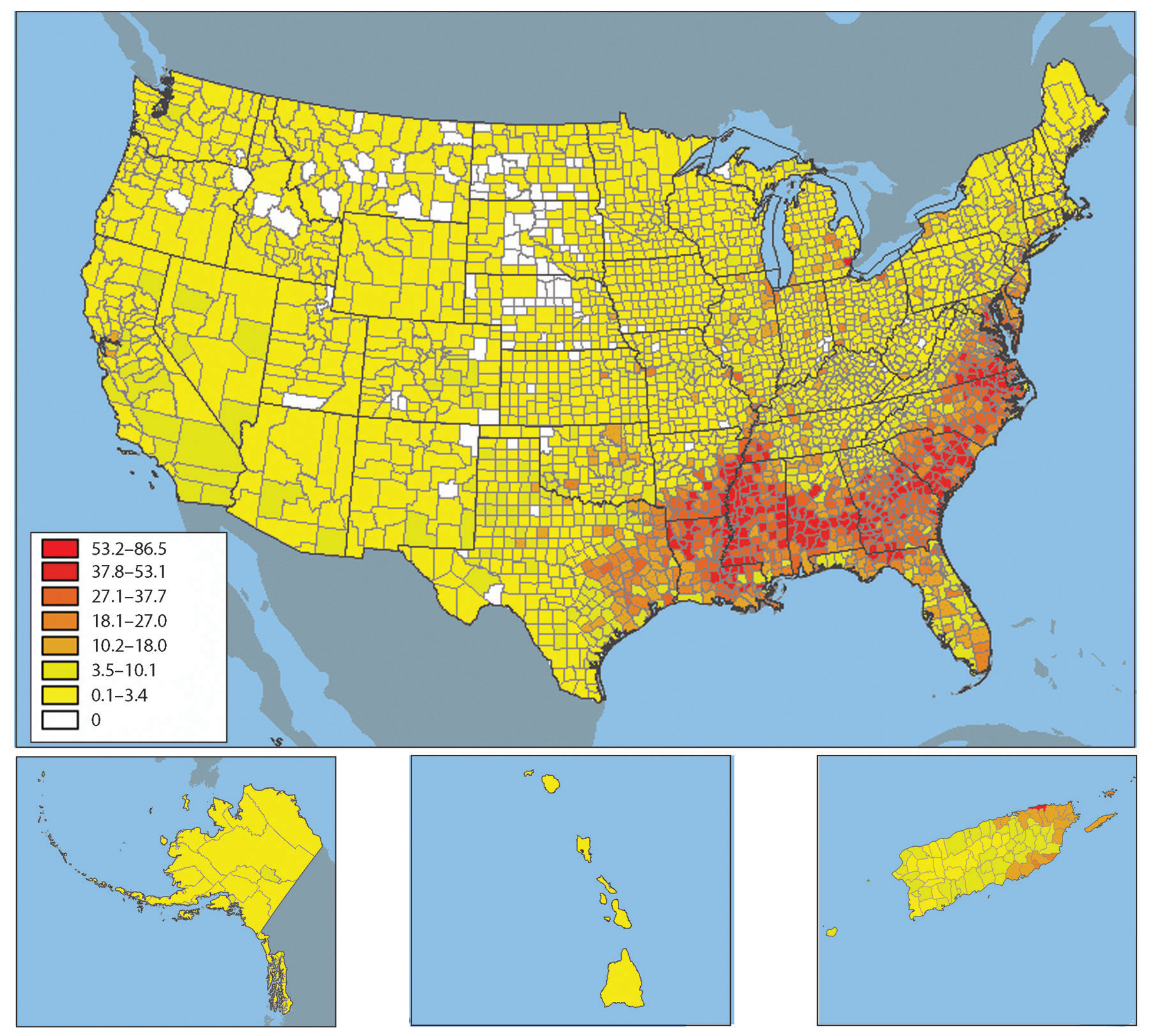 United States Population And Religion - Map of us population change 2000