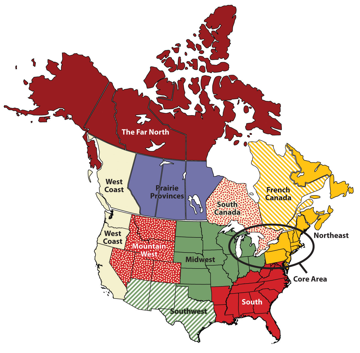Regions of the United States and Canada on