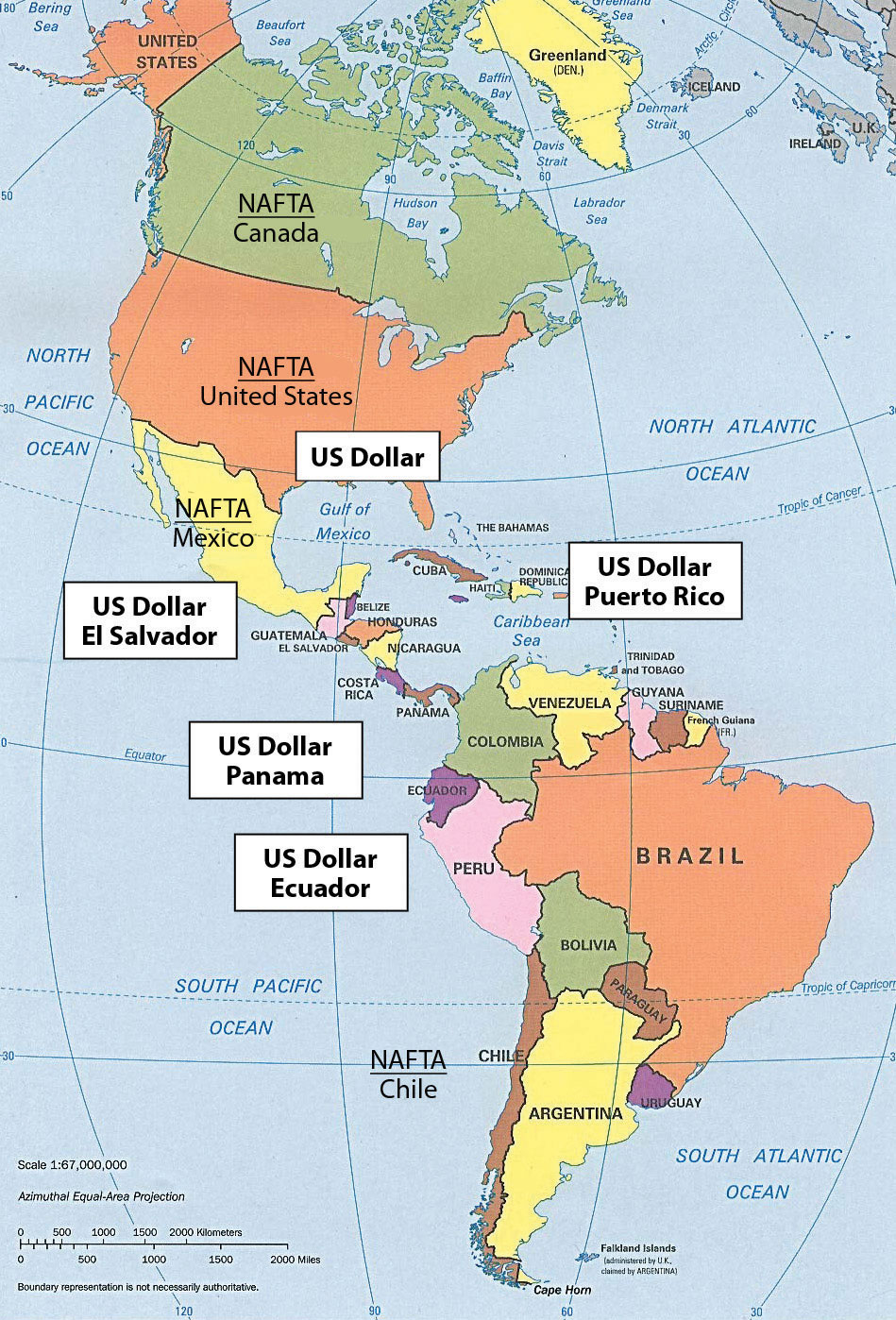 South America - Us map with regions labeled