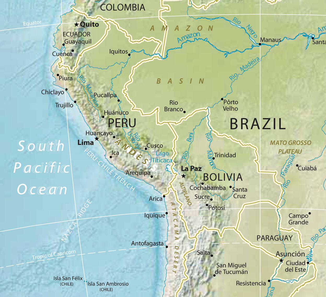 Amazon River In South America Map.South America