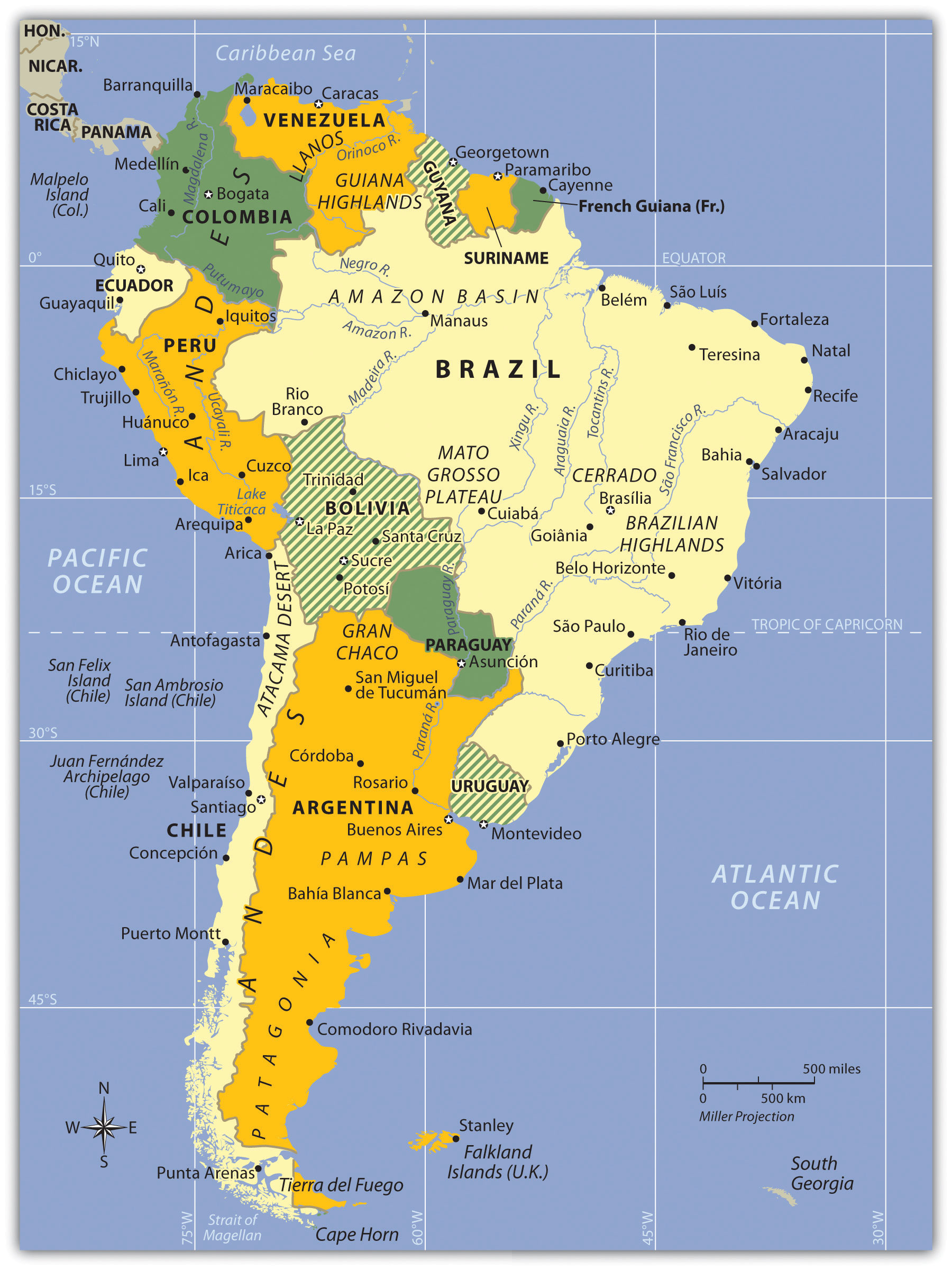 Colonial South America Map.South America