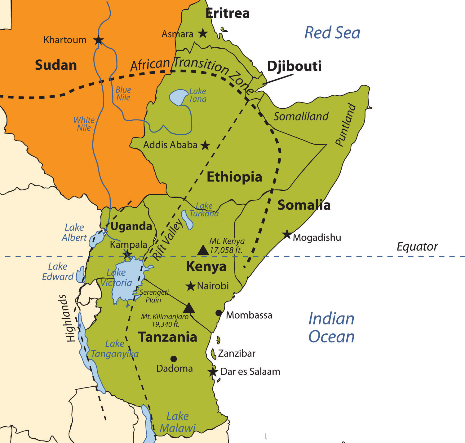 Lake Victoria On Map Of Africa.East Africa