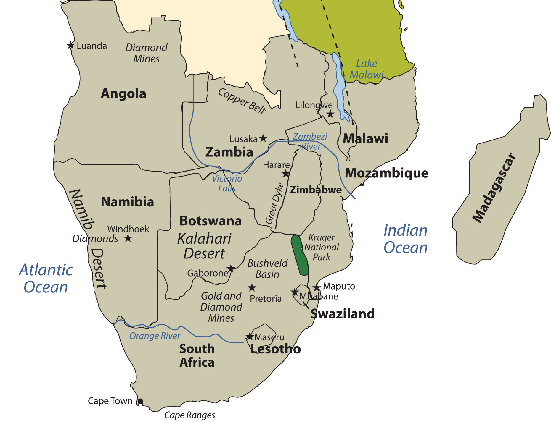 Lake Victoria On Map Of Africa.Southern Africa