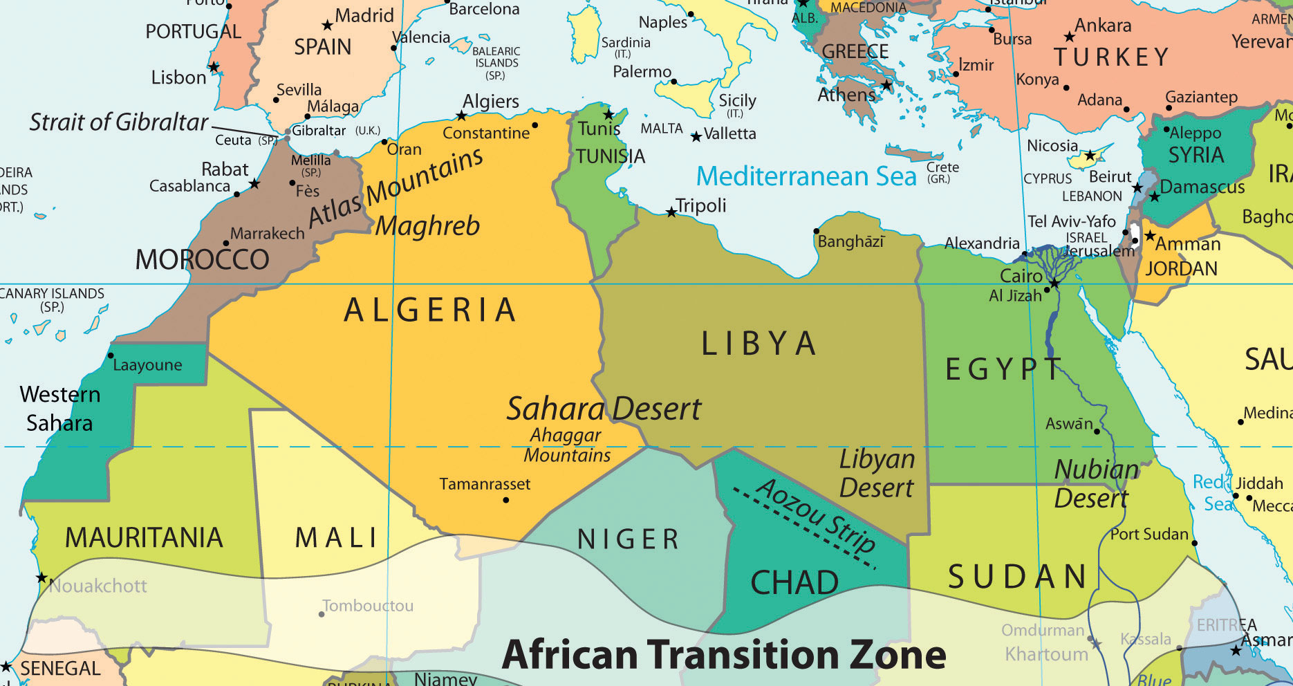 North Africa Map Physical North Africa and the African Transition Zone