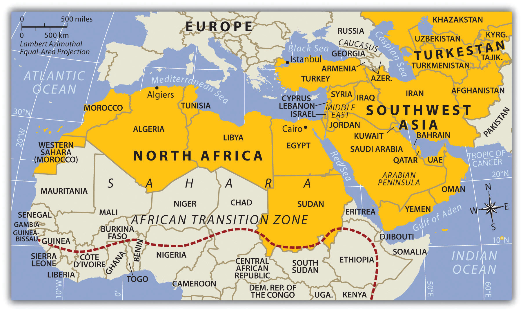 North Africa And Southwest Asia Map | Map Of Africa