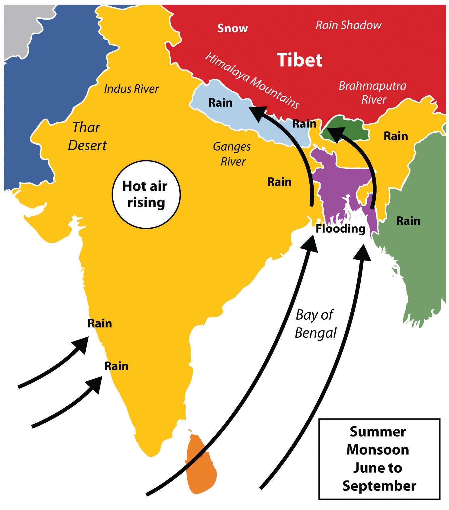 Map Of Monsoon Asia Countries.South Asia