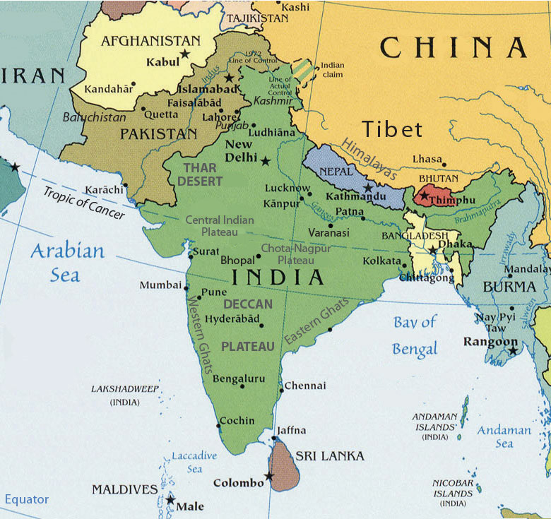 Map Of Asia Bhutan.South Asia