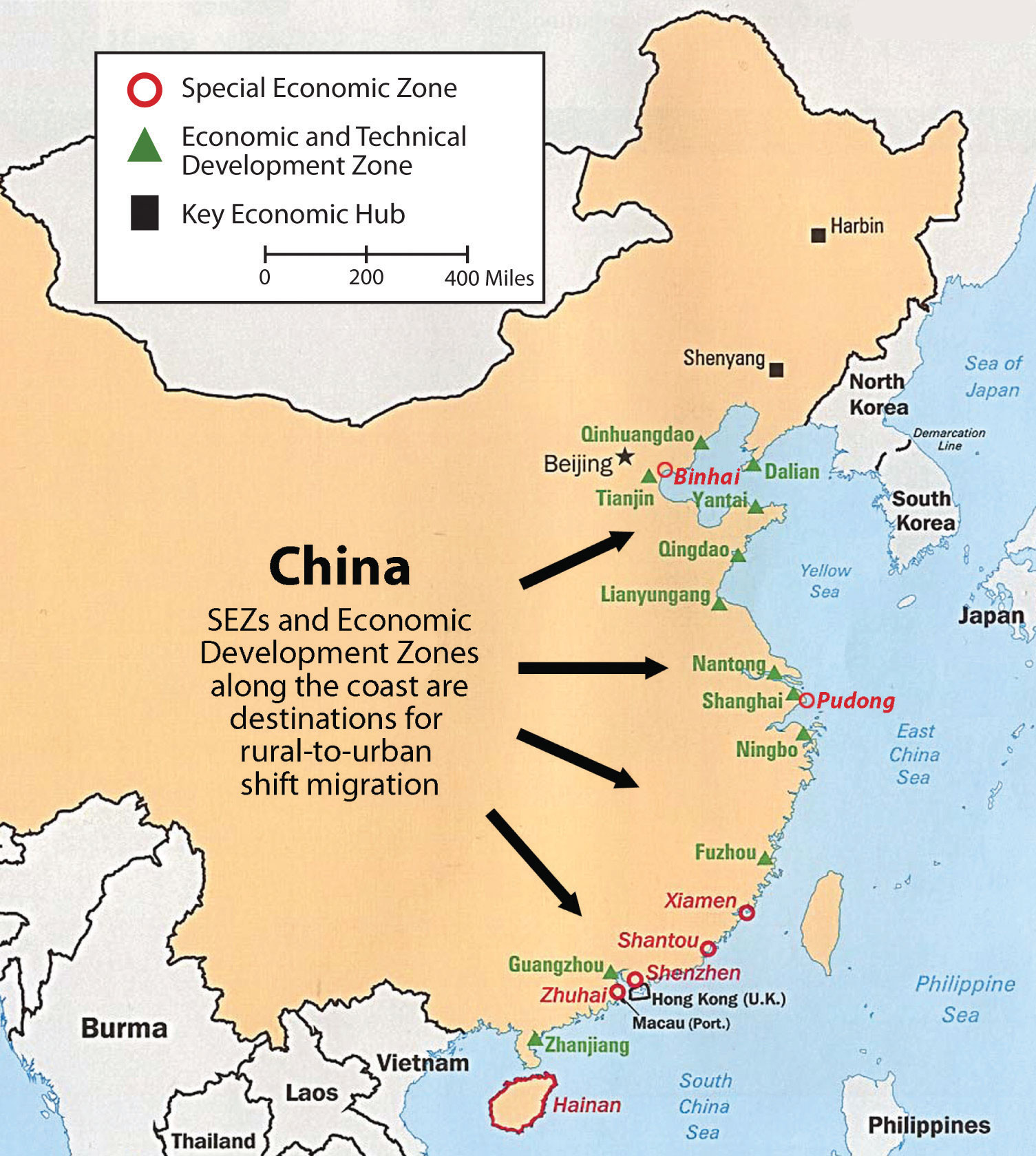 East Asia - Economic zones southeast asia map
