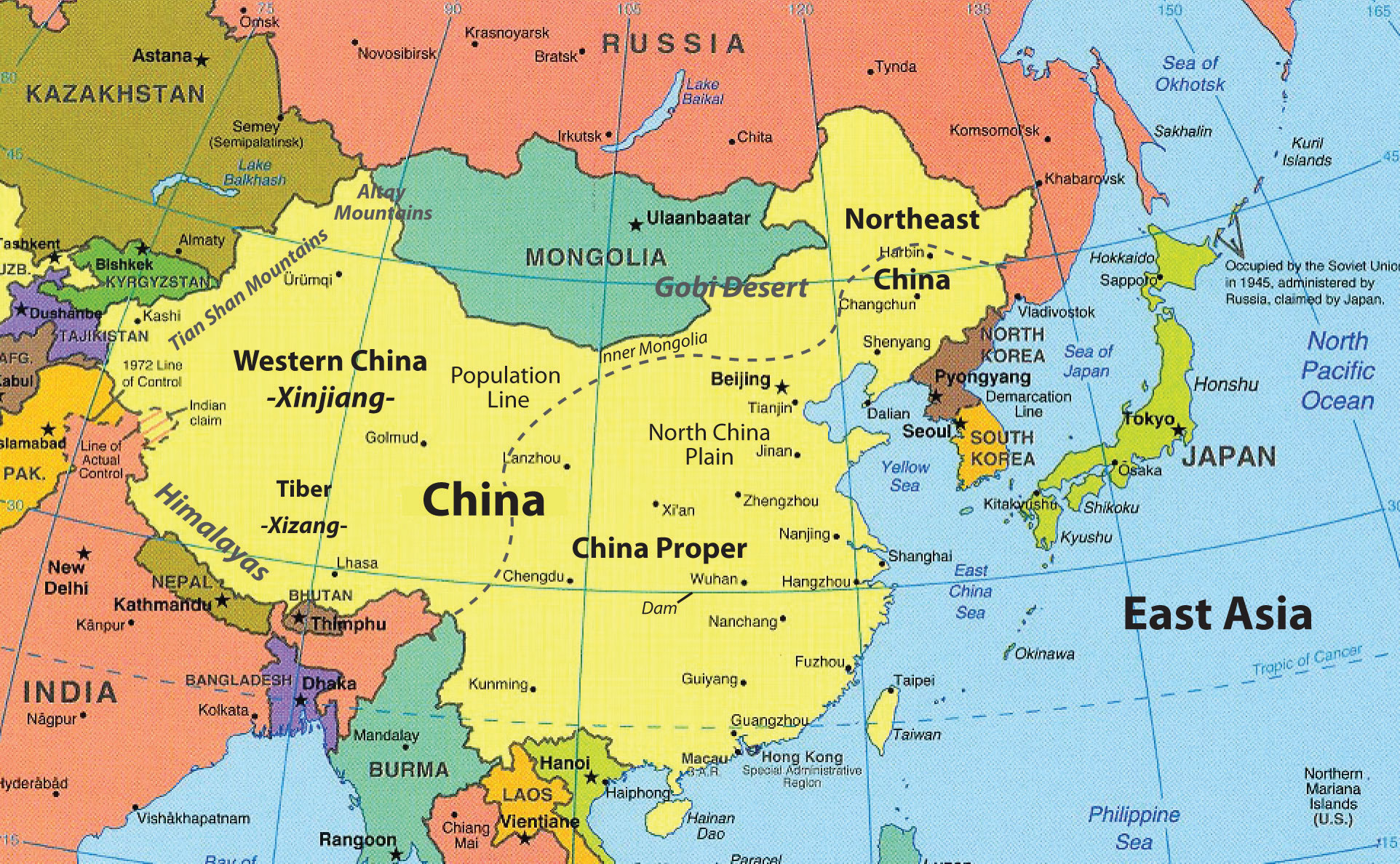 China On Map Of Asia.East Asia